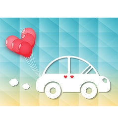 car with red heart balloons vector image vector image