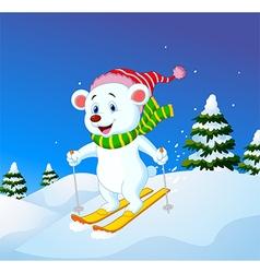 Cartoon polar bear skiing down a mountain slope vector image