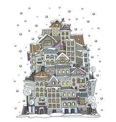 cartoon winter construction town vector image