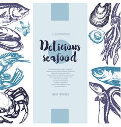Delicious seafood - color drawn vintage banner vector
