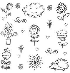 Doodle of spring item flower set vector
