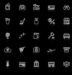 E wallet line icons with reflect on black vector
