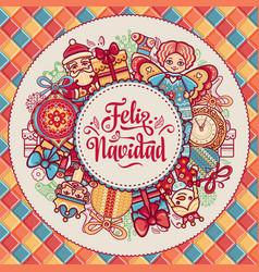 Feliz navidad greeting card in spain background vector