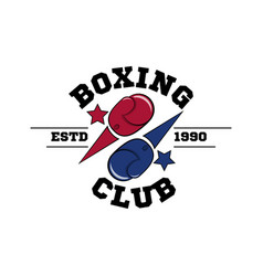 Fighting boxing club logo flying blue and red vector