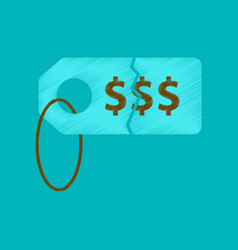 Flat shading style icon sale tag money vector