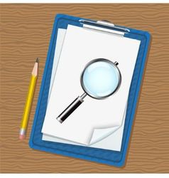 folder magnifier and pencil vector image vector image