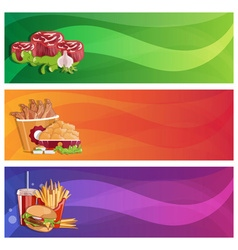 Fried chickenfriessteaks and burger banners set vector