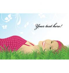 girl grass vector image vector image