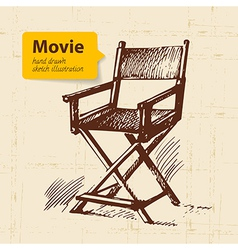 Hand drawn movie Sketch background vector image vector image