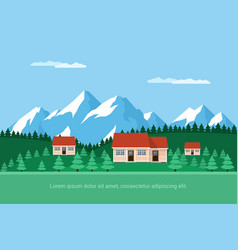 Houses in the forest vector