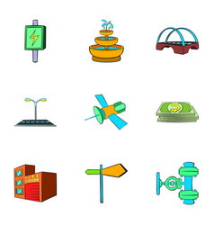 Industry facilities icons set cartoon style vector