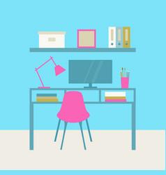 Interior cabinet workplace vector