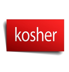 Kosher red square isolated paper sign on white vector