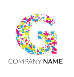 Letter g logo with blue yellow red particles vector
