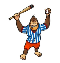 Monkey baseball player vector image vector image
