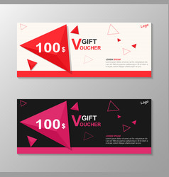 Premium triangle pink red gift voucher templates vector
