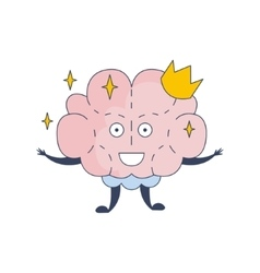 Princess brain in crown comic character vector