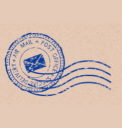 Round air mail blue postmark with envelope sign vector