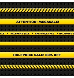 Seamless caution tapes for megasale vector image