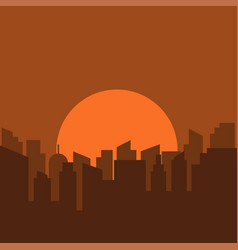 silhouette of urban scenery in the morning vector image