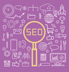 Simple seo search engine optimization icons set vector