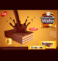 Wafer with pouring chocolate ads background vector
