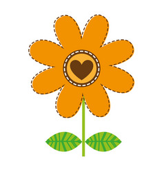 White background with orange daisy flower with vector