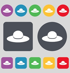 Woman hat icon sign a set of 12 colored buttons vector
