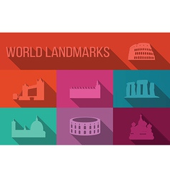 World landmarks famous buildings Europe America vector image