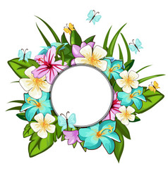 Wreath of different flowers leaves butterflies vector