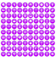 100 victory icons set purple vector