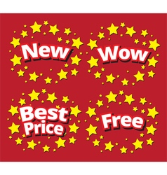 Starbursts set sale banner promotion set vector