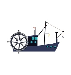 Fishing boat and compass icon vector