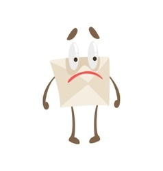 Disappointed humanized letter paper envelop vector