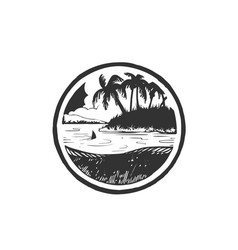 summer holidays emblem island with sea sunrise vector image