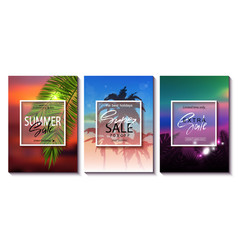 Set of summer sale template banner tropical vector