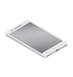 Realistic white smartphone cellular in isometry vector