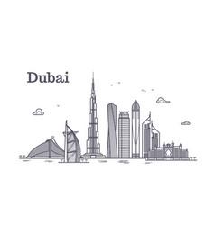 Detailed dubai line cityscape with vector