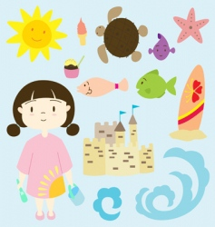Little girl on the beach vector