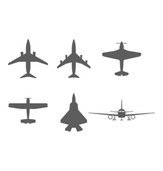 airplane icons passenger plane fighter plane and vector image