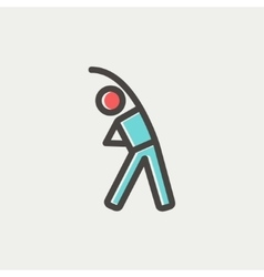 Man do strretching thin line icon vector