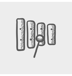 Xylophone with mallet sketch icon vector