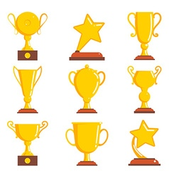 Champions awards winner icons vector