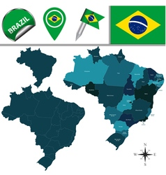 Brazil map with named divisions vector