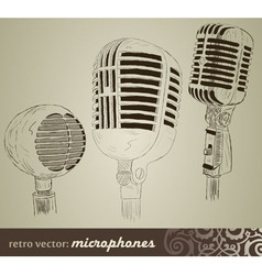 retro set microphones in doodle style vector image