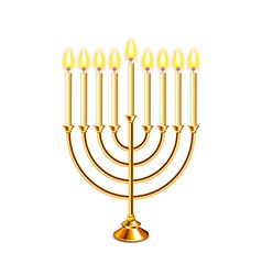 Hanukkah menorah with candles isolated vector