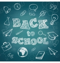 School supplies and greeting text vector
