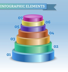 Oval pyramid infographic to show steps or growth vector