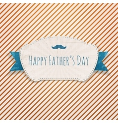 Fathers day textile blue and white greeting badge vector