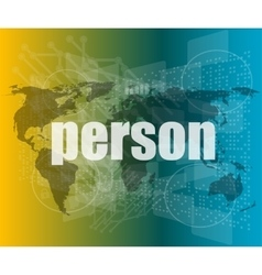 Person word on digital touch screen vector